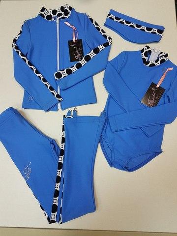 Термокомплект, рост 110 (голубой, со вставками) +боди+повязка