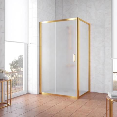 Душевой уголок Vegas Glass ZP+ZPV профиль золото, стекло сатин