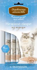 Деревенские лакомства Рыбный десерт для кошек пюре из тунца 40гр