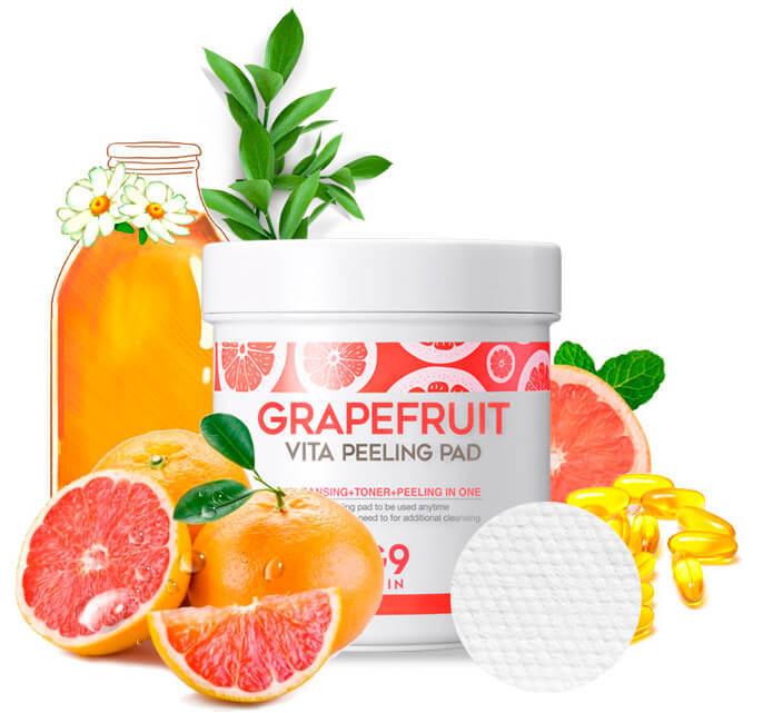 Пилинг-пэды для лица с грейпфрутом G9SKIN Grapefruit Vita Peeling Pad 200g
