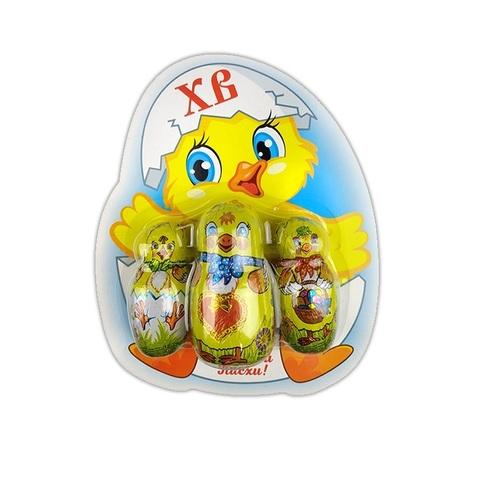 Пасх. набор : 2 цыпленка 18г, 1 цыпленок 35гр блистерной упаковке 1кор*2бл*12шт, 71гр