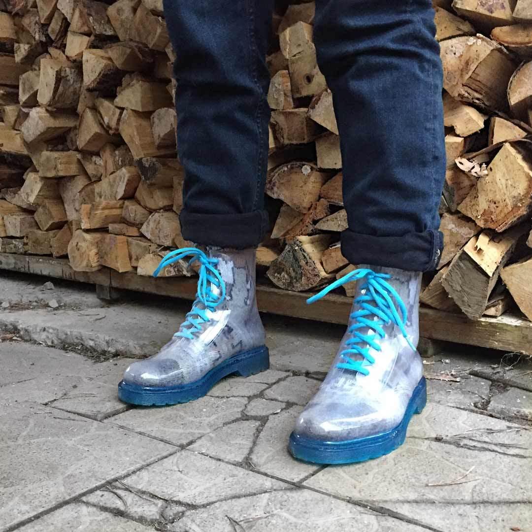 Молодежные ботинки мужские Invisible-Shoes Синие