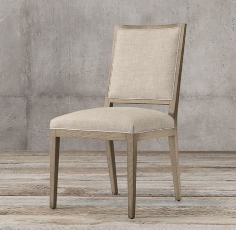French Contemporary Square Fabric Side Chair