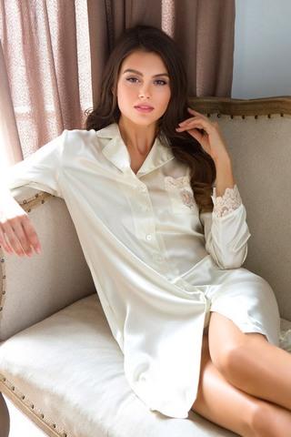 Рубашка шелковая Kristy кремовая