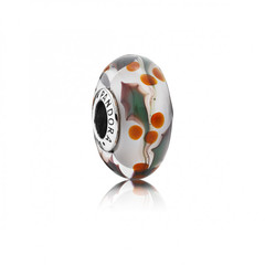 HOLLY SILVER CHARM WITH TRANSPARENT, WHITE, RED AND GREEN MURANO GLASS