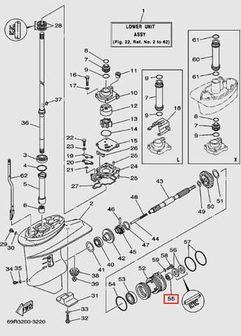 Подшипник игольчатый HK2016 для лодочного мотора Т30 Sea-PRO (17-55)