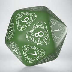 D20 Level Counter Green & white Die (1)