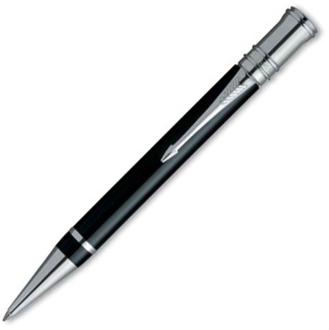 Шариковая ручка Parker Duofold, цвет - черный/платина