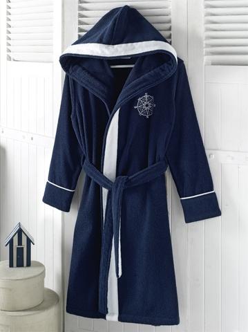 MARINE LADY  синий  женский халат с капюшоном Soft Cotton (Турция)