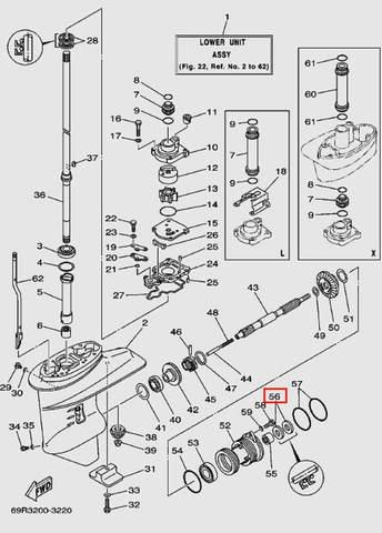 Сальник горизонтального вала 34*20*6.5 для лодочного мотора Т30 Sea-PRO (17-56)