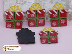 Плоский  декор Рождественский подарок на черном фоне (глянец)