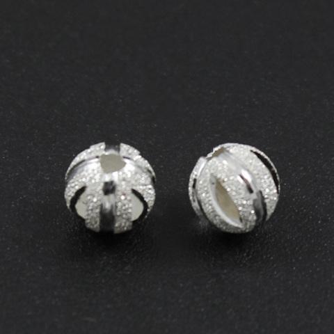 Бусина Сахарная резная 6 мм серебро 925
