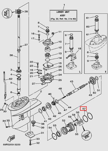 Кольцо уплотнительное стакана редуктора 2.5*71.5 для лодочного мотора Т30 Sea-PRO (17-57)