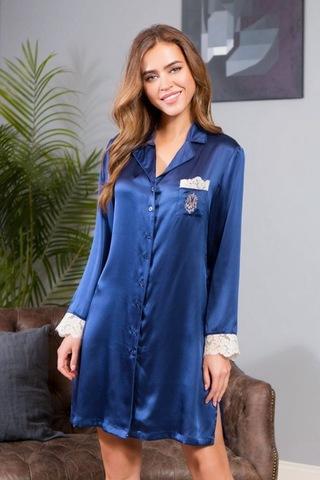 Рубашка шелковая Kristy синяя