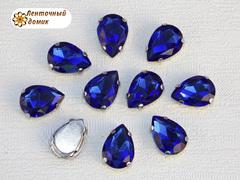 Камень капля в цапах 10*14 мм синий