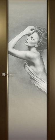 Дверь Океан Prestige Estel Шторм-3, стекло белое с рисунком Амели, цвет венге, остекленная