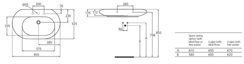 Раковина Ideal Standard SimplyU T017001  на 85 см. схема