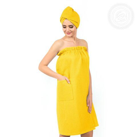 Набор для бани и сауны женский желтый