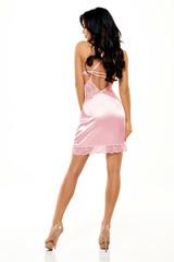 Эротическая атласная сорочка с кружевом розового цвета