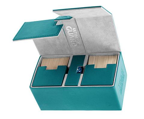 Ultimate Guard - Двойная кожаная коробочка цвета морской волны с отделением для кубиков на 200 карт