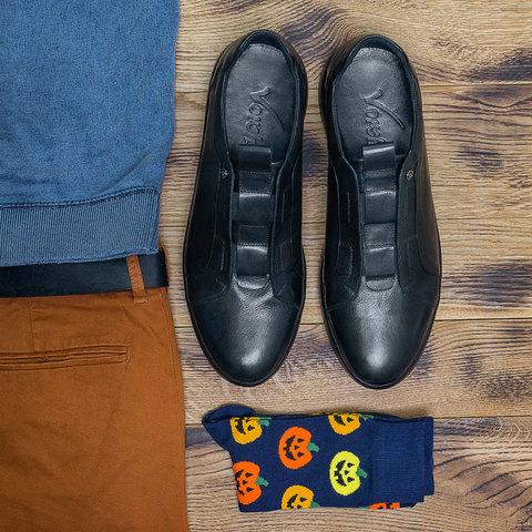 Мужские кожаные кроссовки без шнурков