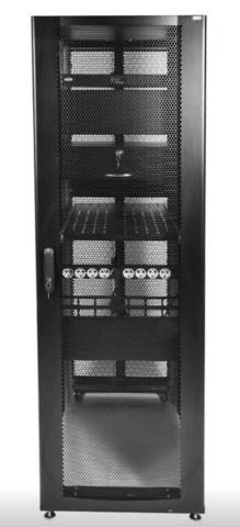 Шкаф ЦМО серверный ПРОФ напольный 42U (600 × 1200) дверь перф., задние двойные перф., черный, в сборе