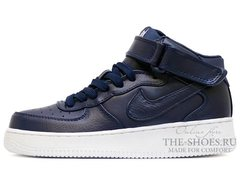 Кроссовки Женские Nike Air Force 1 Mid Leather Navy Blue