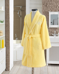 LILIUM SALYAKA ЖЕЛТЫЙ махровый женский халат Soft Cotton (Турция)