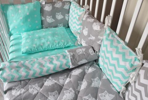 Комплект в кроватку Совы, на 4 стороны кроватки
