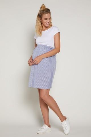 Платье 09379 белый/голубой/полоска