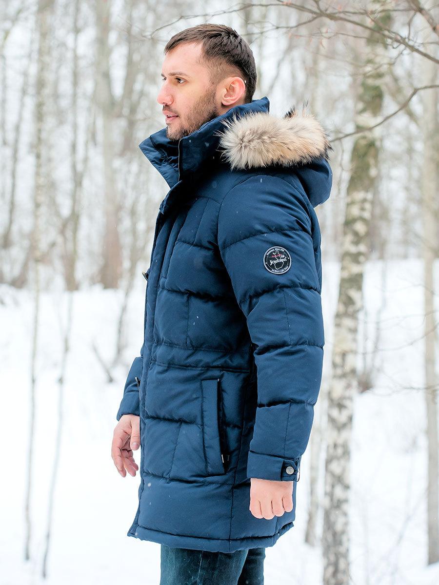 Joutsen пуховик Pontus Fur темно-синий - Фото 1