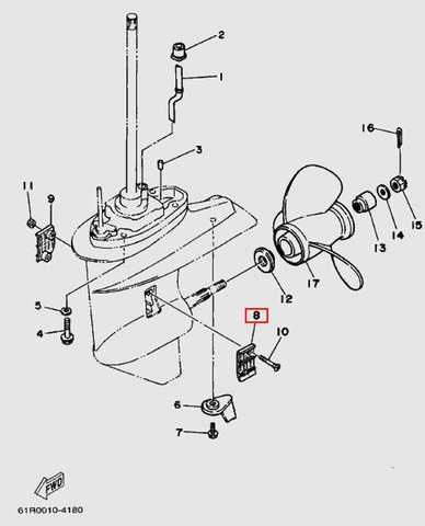 Решетка забора воды левая для лодочного мотора Т30 Sea-PRO (18-8)