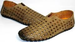 Мужские туфли мокасины летние Luciano Bellini 107703 Beige.