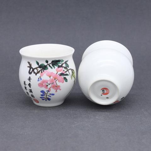 Термо-стакан с цветком сливы, фарфор, 70мл