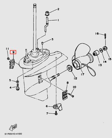 Решетка забора воды правая для лодочного мотора Т30 Sea-PRO (18-9)