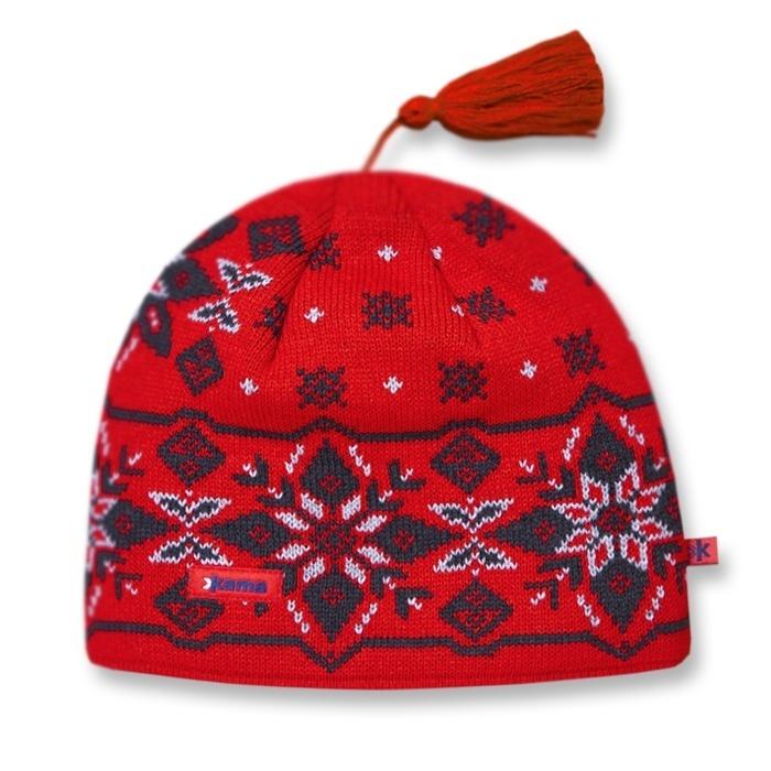 Спортивные шапки Шапка с помпоном Kama A05 Red A05_104.jpg