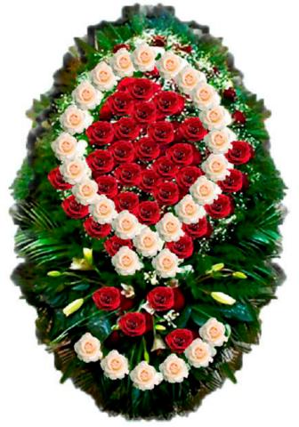 Траурный венок из живых цветов ВЖ 01 -150 см