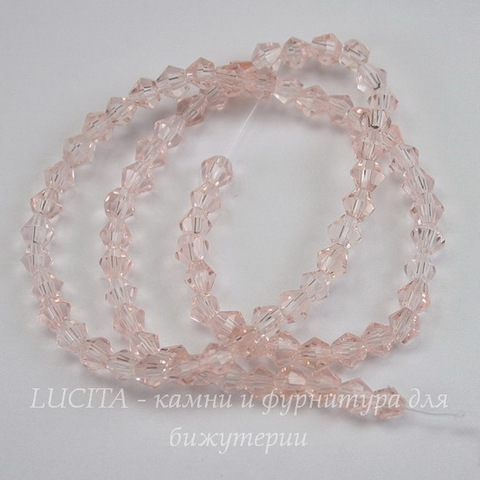 Бусина стеклянная, биконус, цвет - винтажный розовый, 4 мм, нить