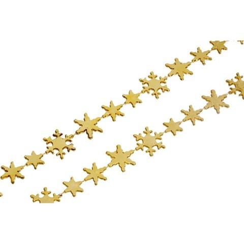 Новогоднее украшение гирлянда снежинки 270см, золото, 16559