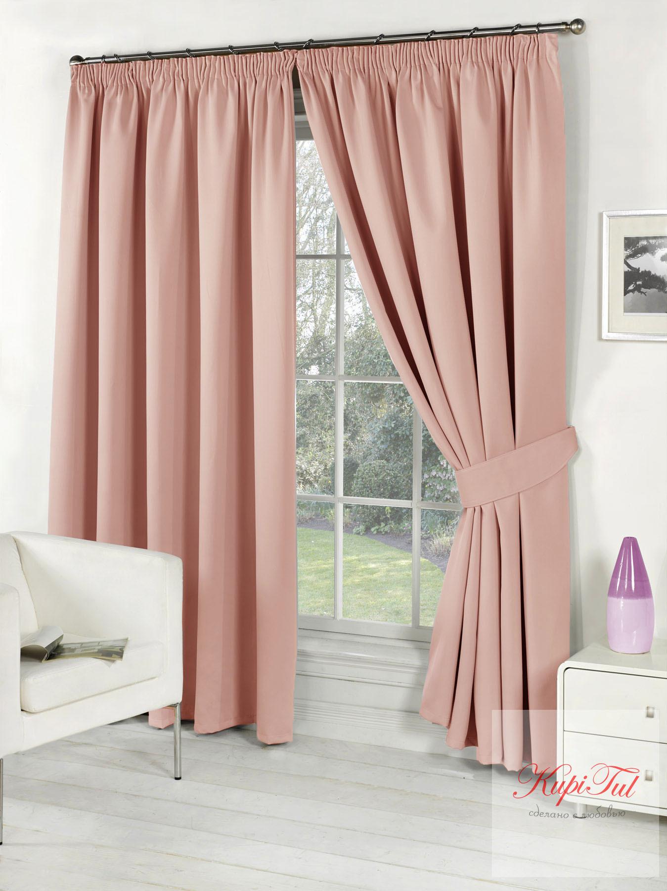 Длинные шторы. Classic Blackout (Розовый). Однотонный блэкаут