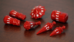 PolyHero dice warrior set crimson & bone white