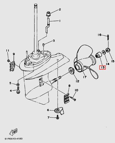 Втулка гребного винта для лодочного мотора Т30 Sea-PRO (18-13)