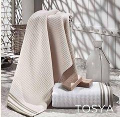 Полотенце 100х150 Hamam Tosya с коричневым белое