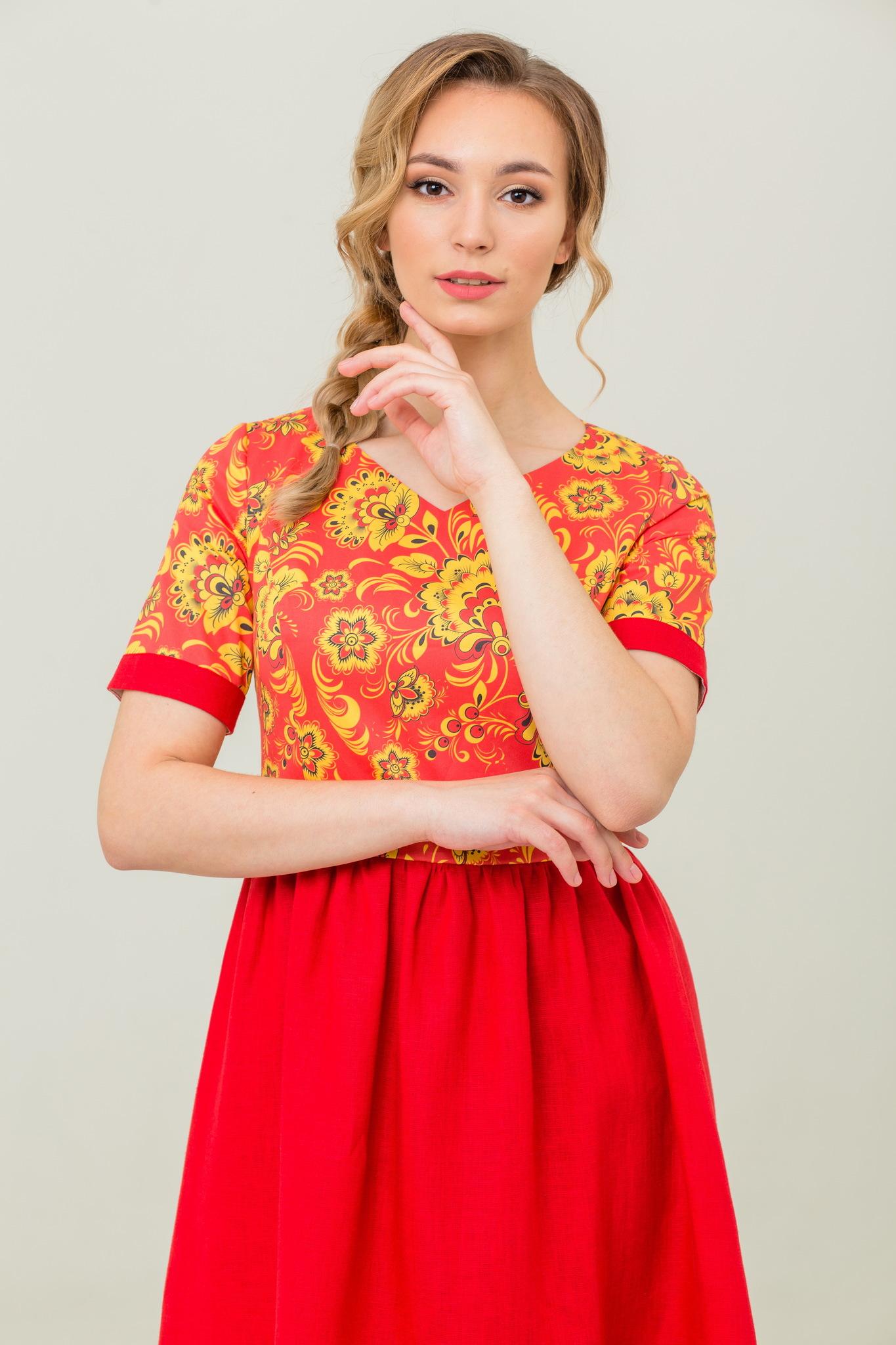 Льняное платье с коротким рукавом Расписное