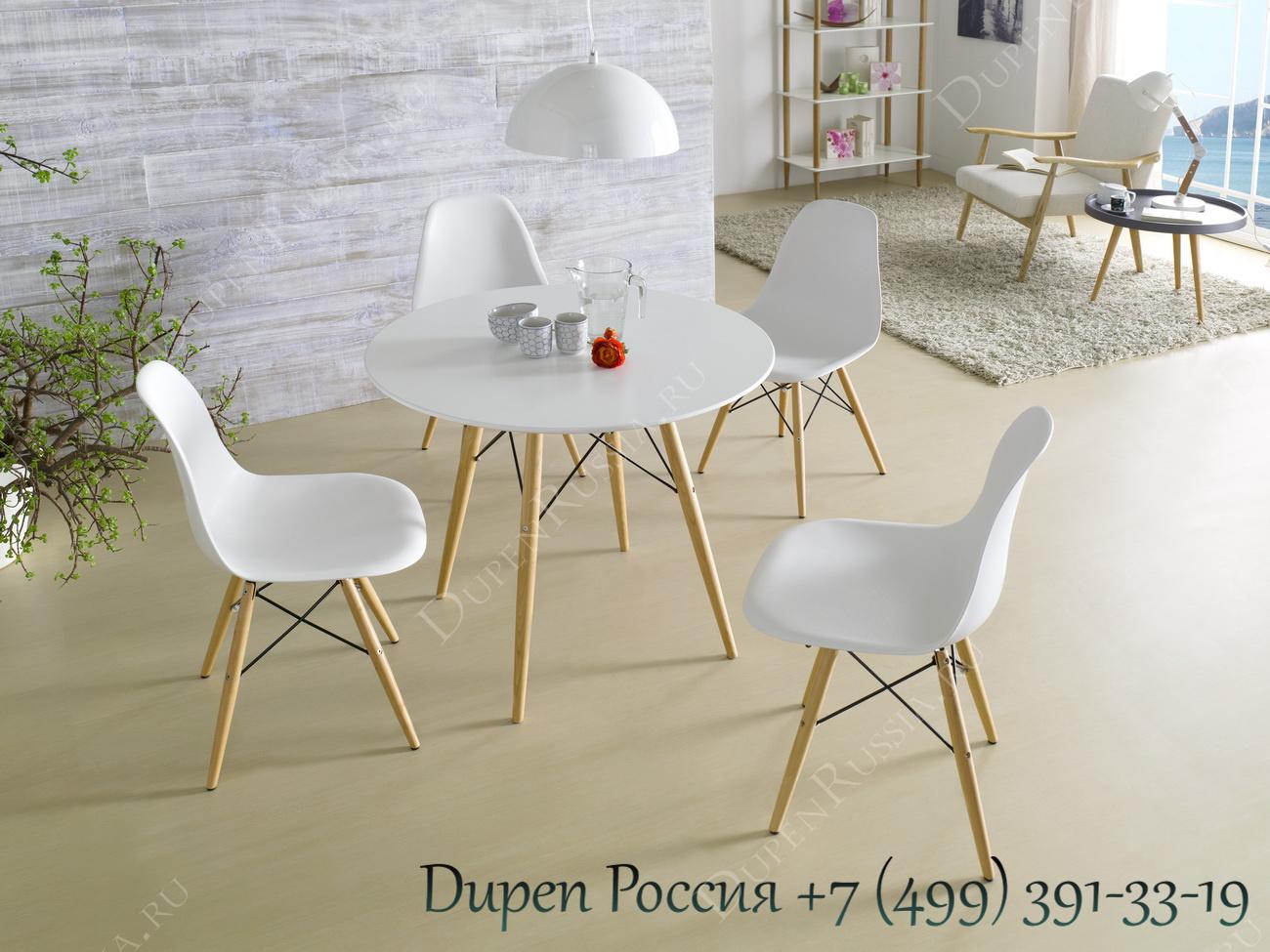 Стол DUPEN RT-901, Стулья DUPEN DC-231A Белые