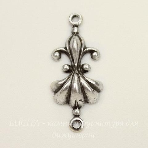 Винтажный декоративный элемент - коннектор (1-1) 23х10 мм (оксид серебра)