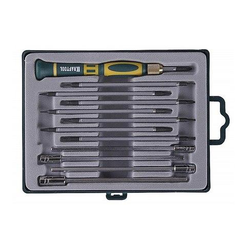 X-Turbo отвертка для точных работ со сменными стержнями и головками 12 предм., KRAFTOOL