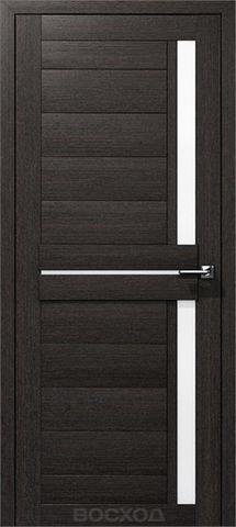 Дверь Восход Дельта, стекло сатин, цвет орех Бисмарк, остекленная