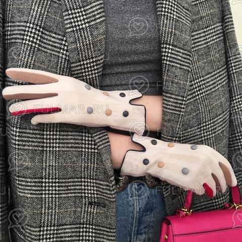 Женские перчатки с кнопками Бежевые