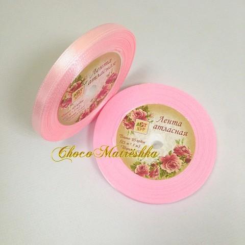 Атласная лента 0,6 см - Бледно-розовая